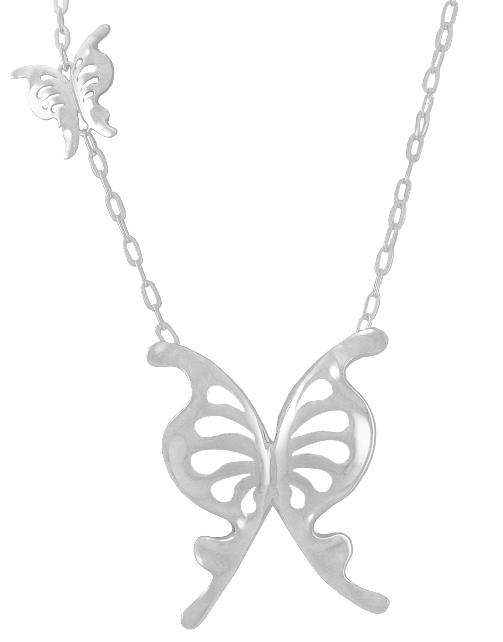 Sterling Silver Butterfly Pendant Charm Necklace