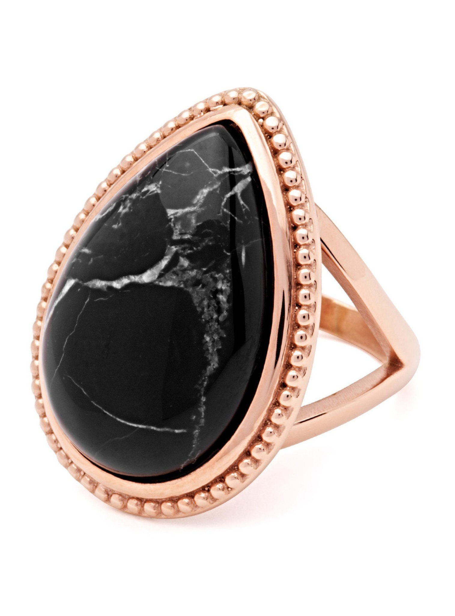 Twilight Rose Gold Stainless Steel Ring with Howlite