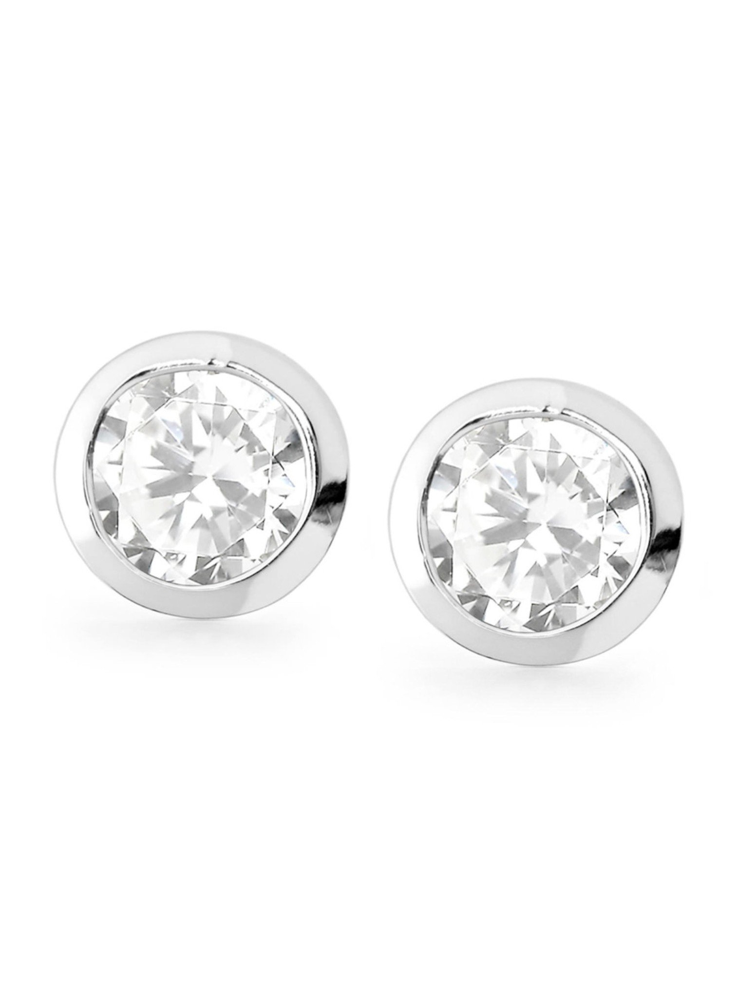 North Star stud earrings in silver and clear CZ