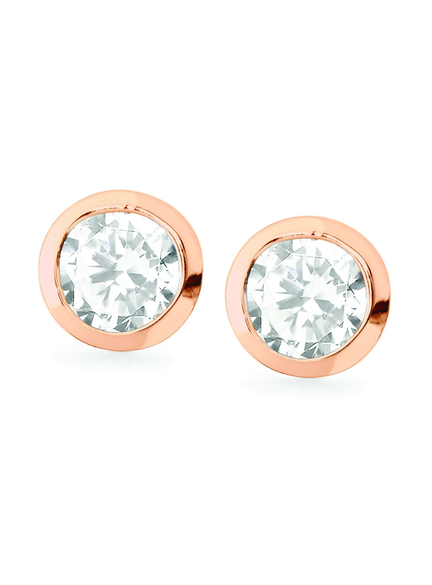 North Star stud earrings in silver rose gold plated