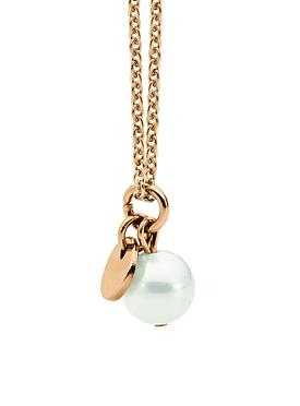 White Pearl Rose Gold Steel Necklace with Pearl