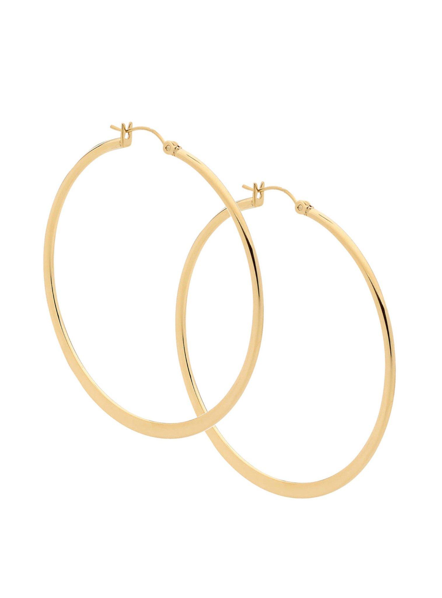 Large Hoop Earrings in Yellow Gold Steel