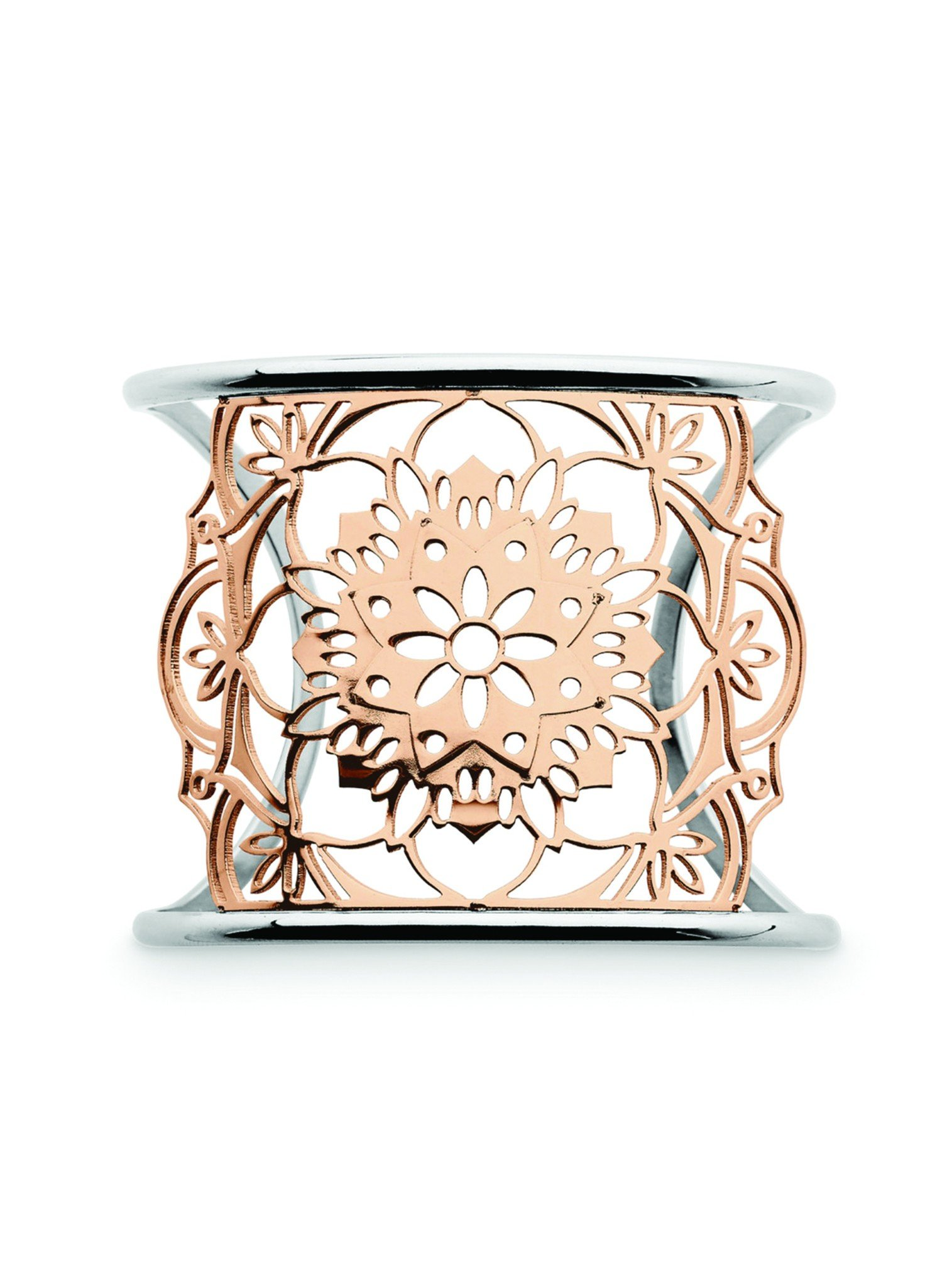 Lotus Cuff Rose Gold Bangle in Stainless Steel