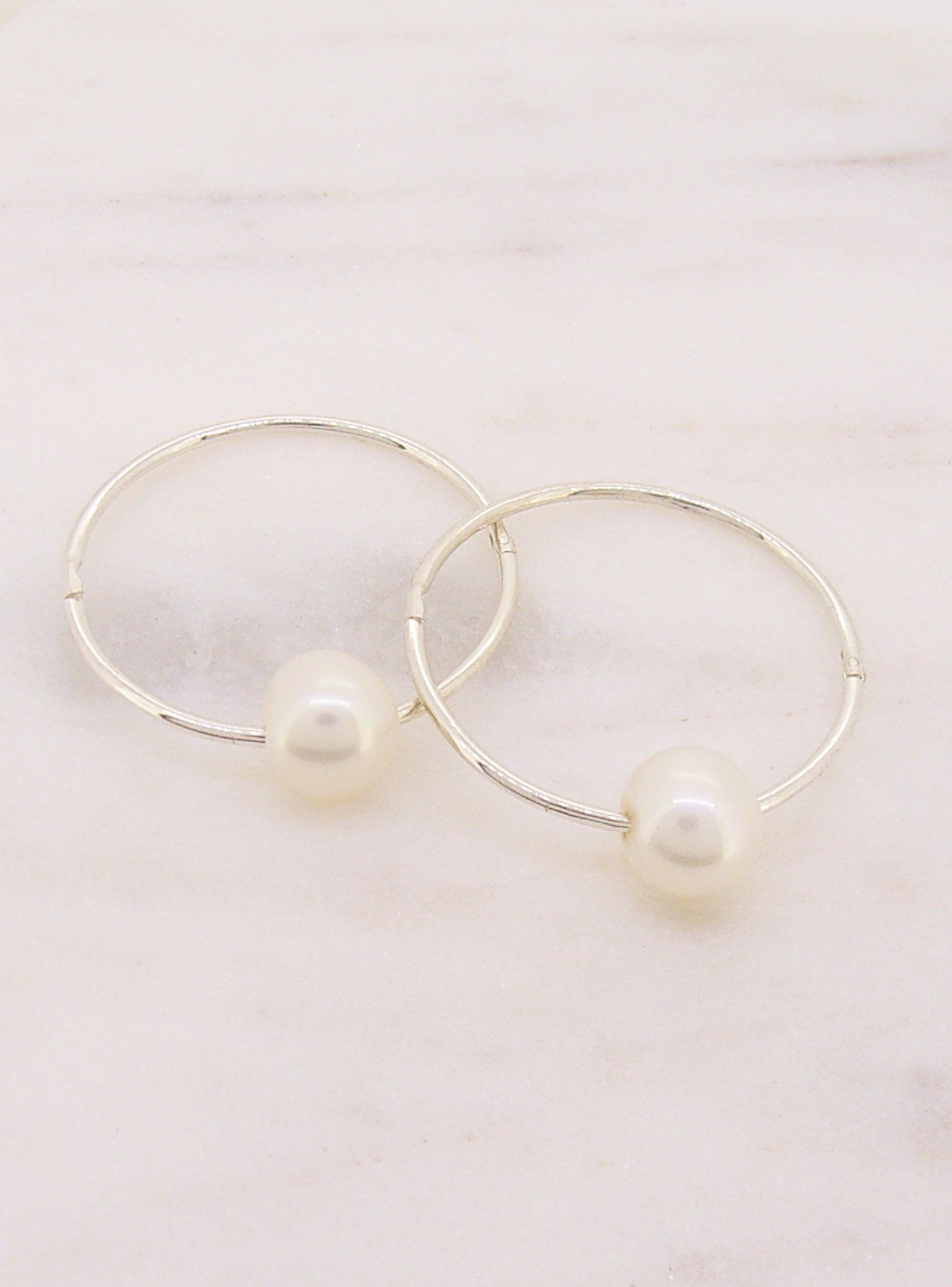 Sterling Silver 23mm Sleeper Earring with Freshwater Pearl