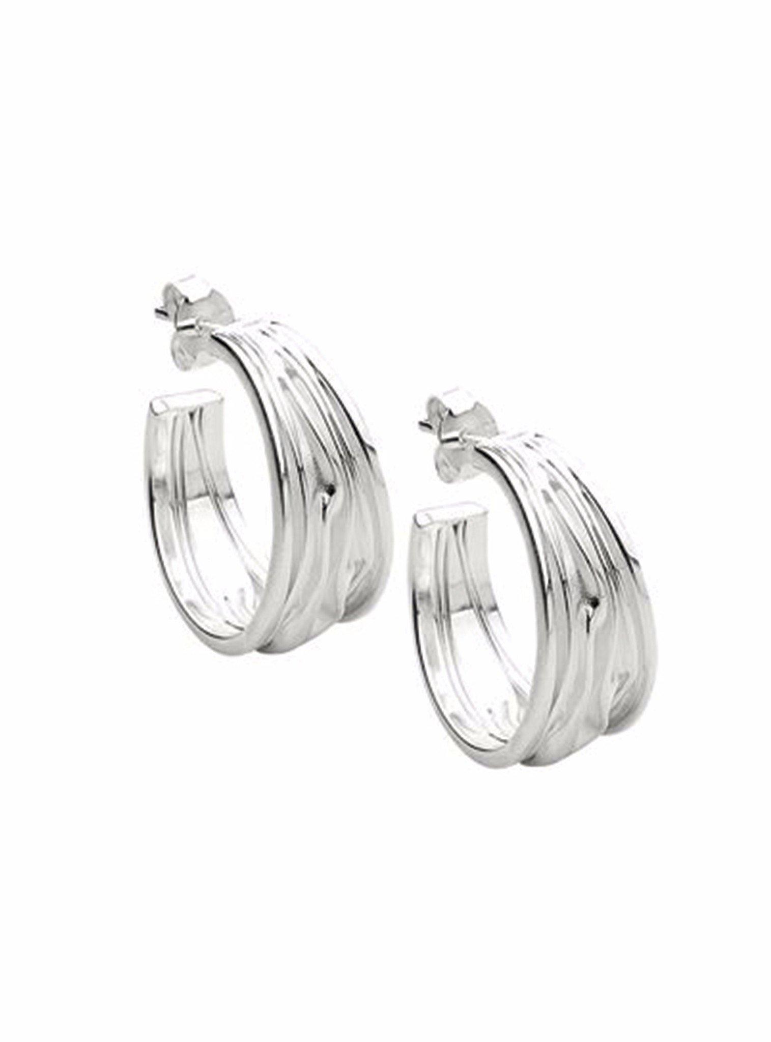 Waves of Love Sterling Silver Cuff Hoop Earrings