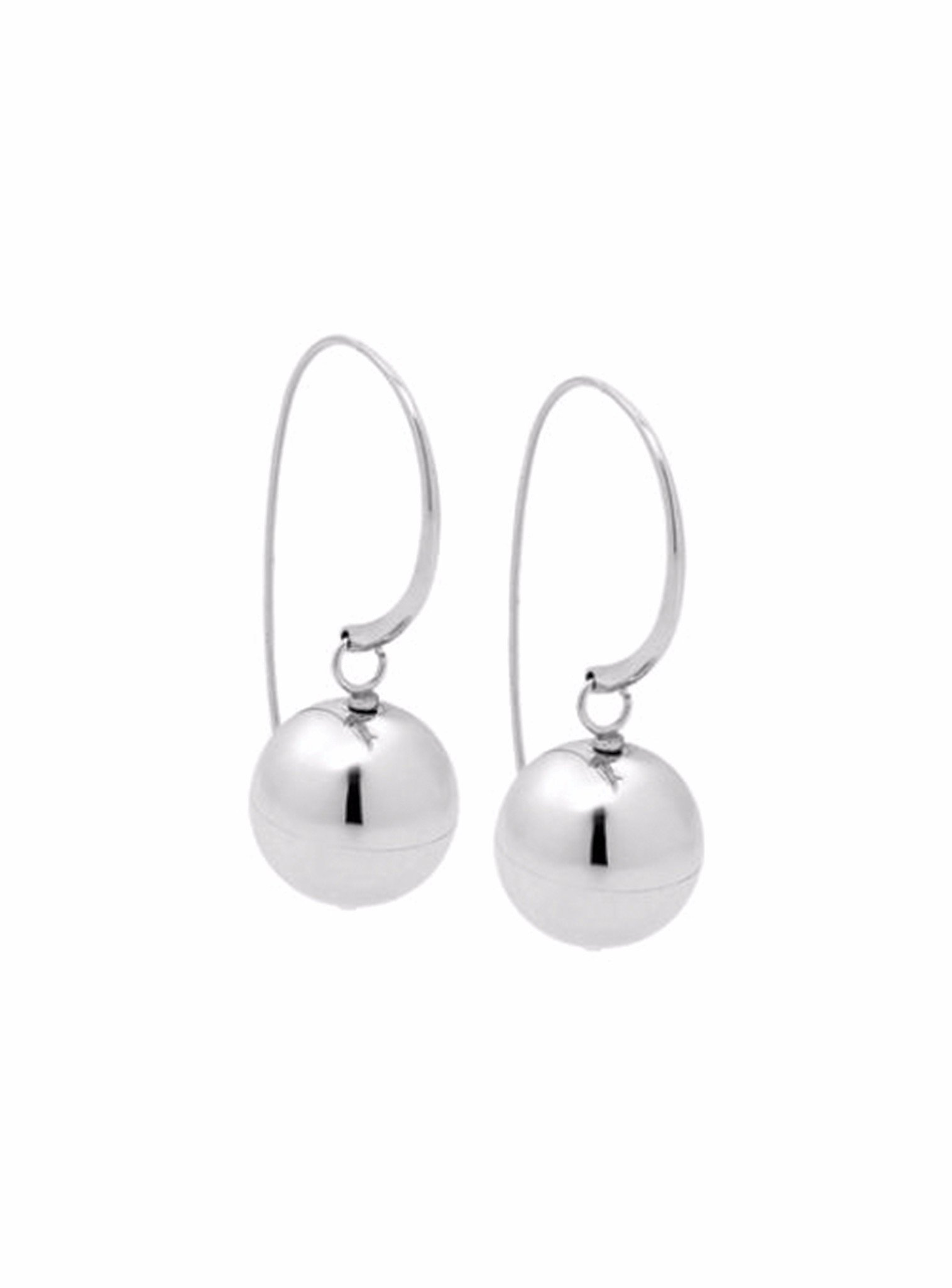 Silver Stainless Steel Ball Drop Earrings