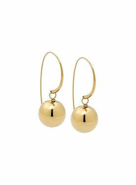 Yellow Gold Stainless Steel Ball Drop Earrings