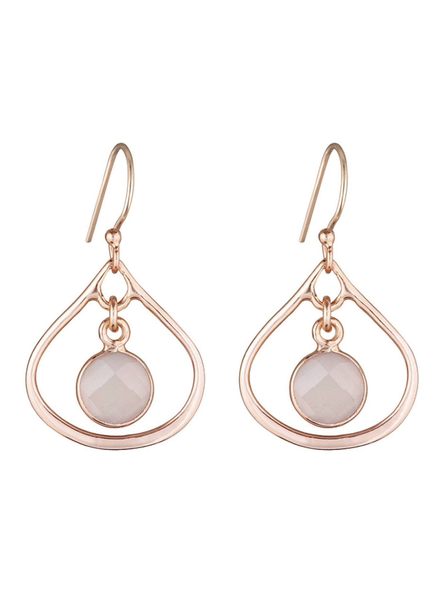 Selene Mini Stone Earrings Rose Quartz in Rose Gold