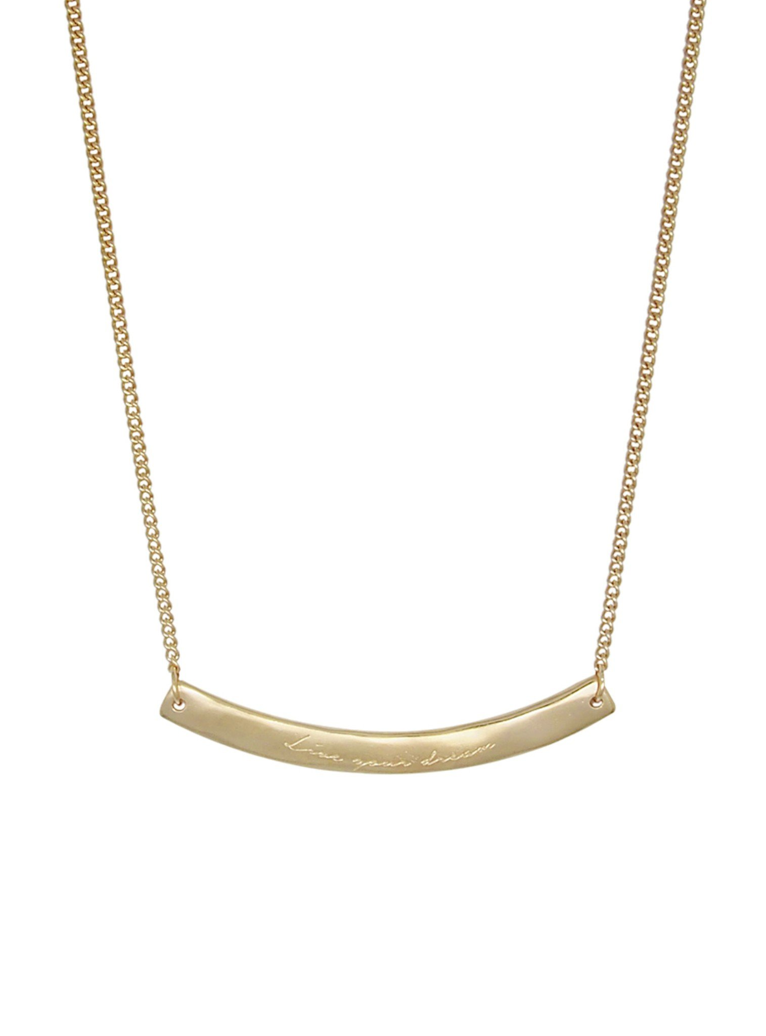 Soft Gold Willow Organic 'Live Your Dream' Bar Pendant