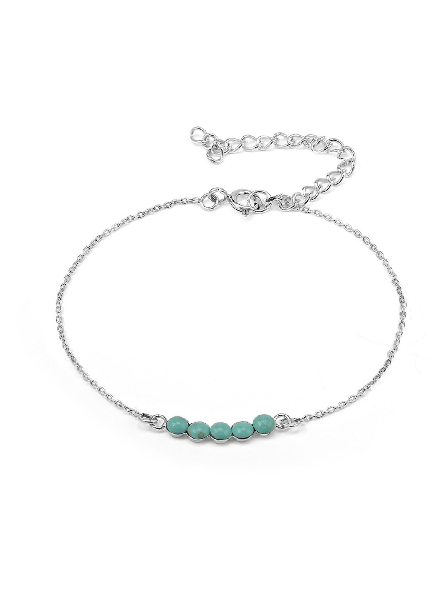 Believe Silver Bracelet with Turqouise