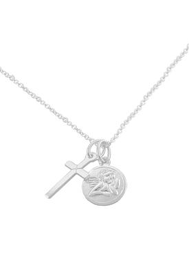 Sterling Silver Guardian Angel and Cross Charm Cable Necklace