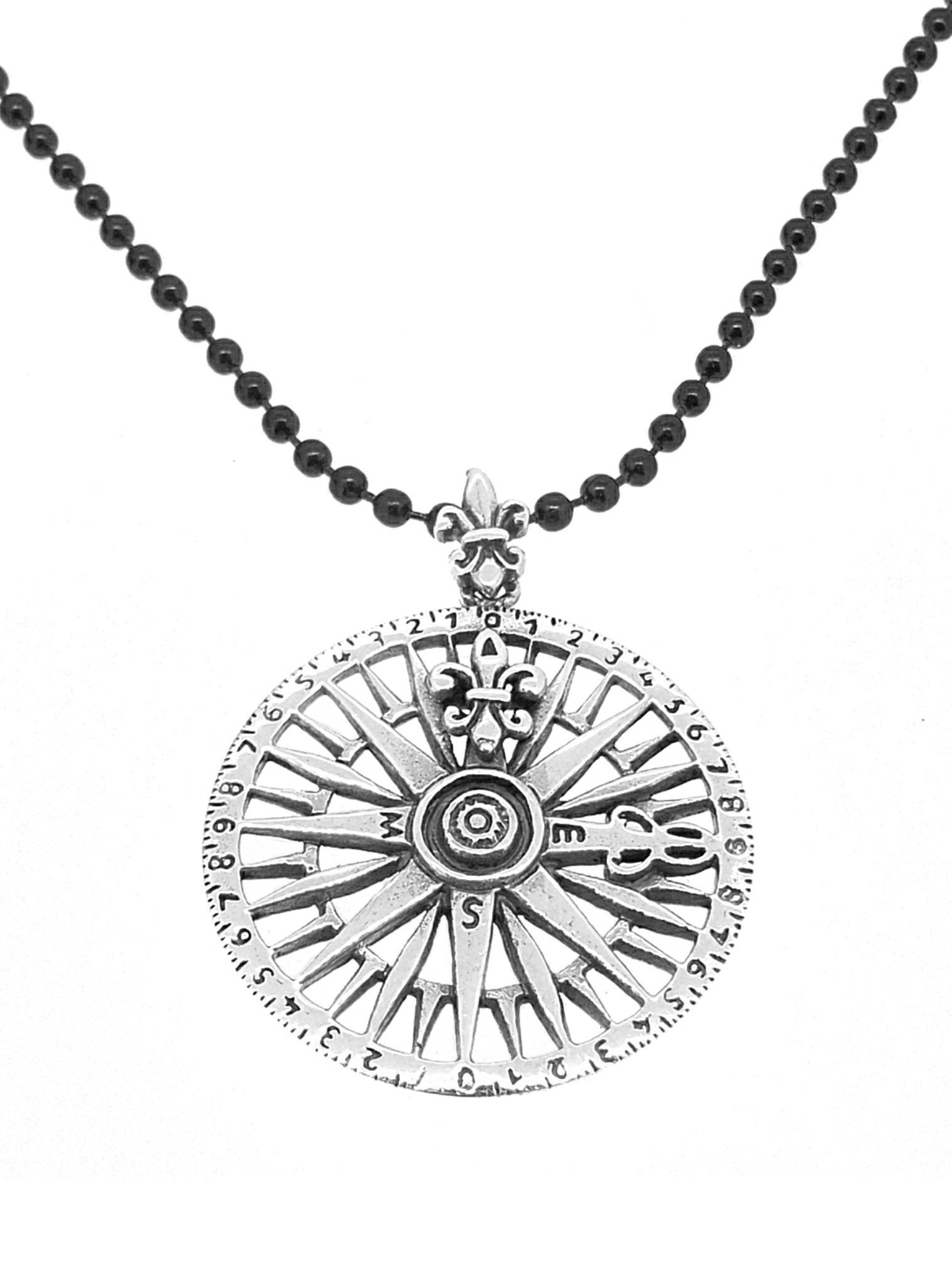 Sterling Silver Unisex Compass Rose Pendant Black Ball Necklace