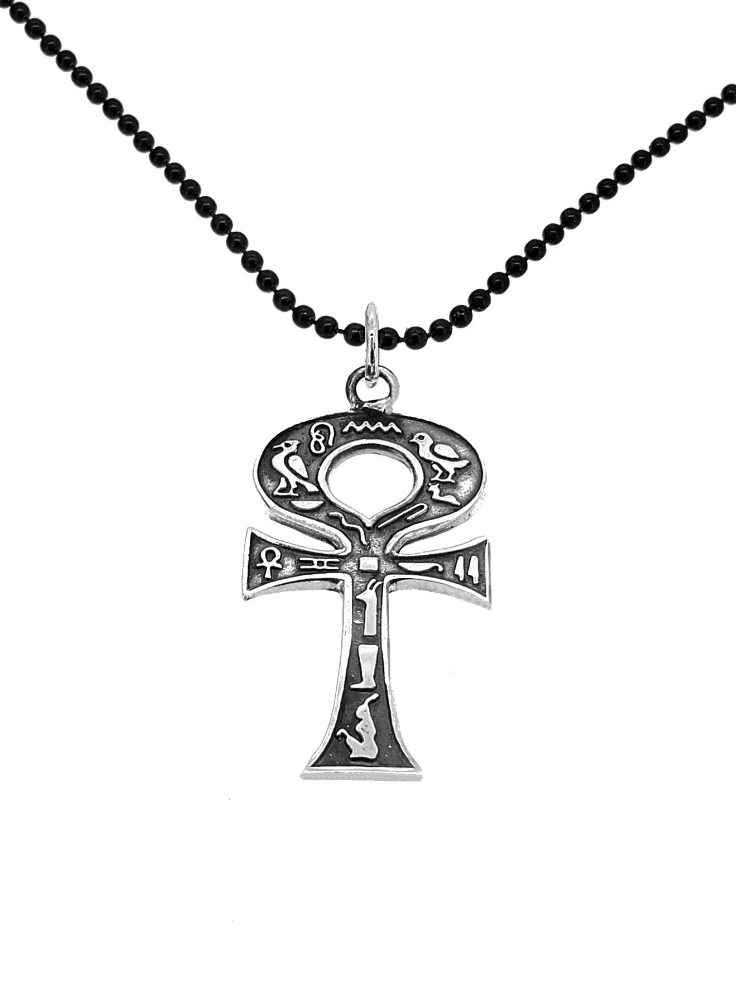 Sterling Silver Egyptian Ankh Cross Pendant Black Ball Necklace