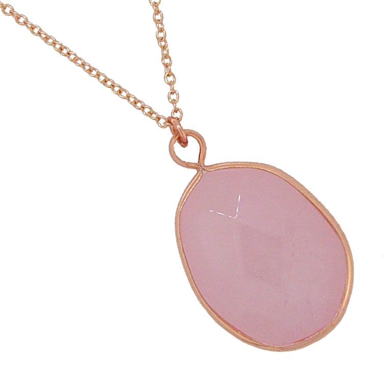 Rose Gold Oval Stone of Love Rose Quartz Necklace