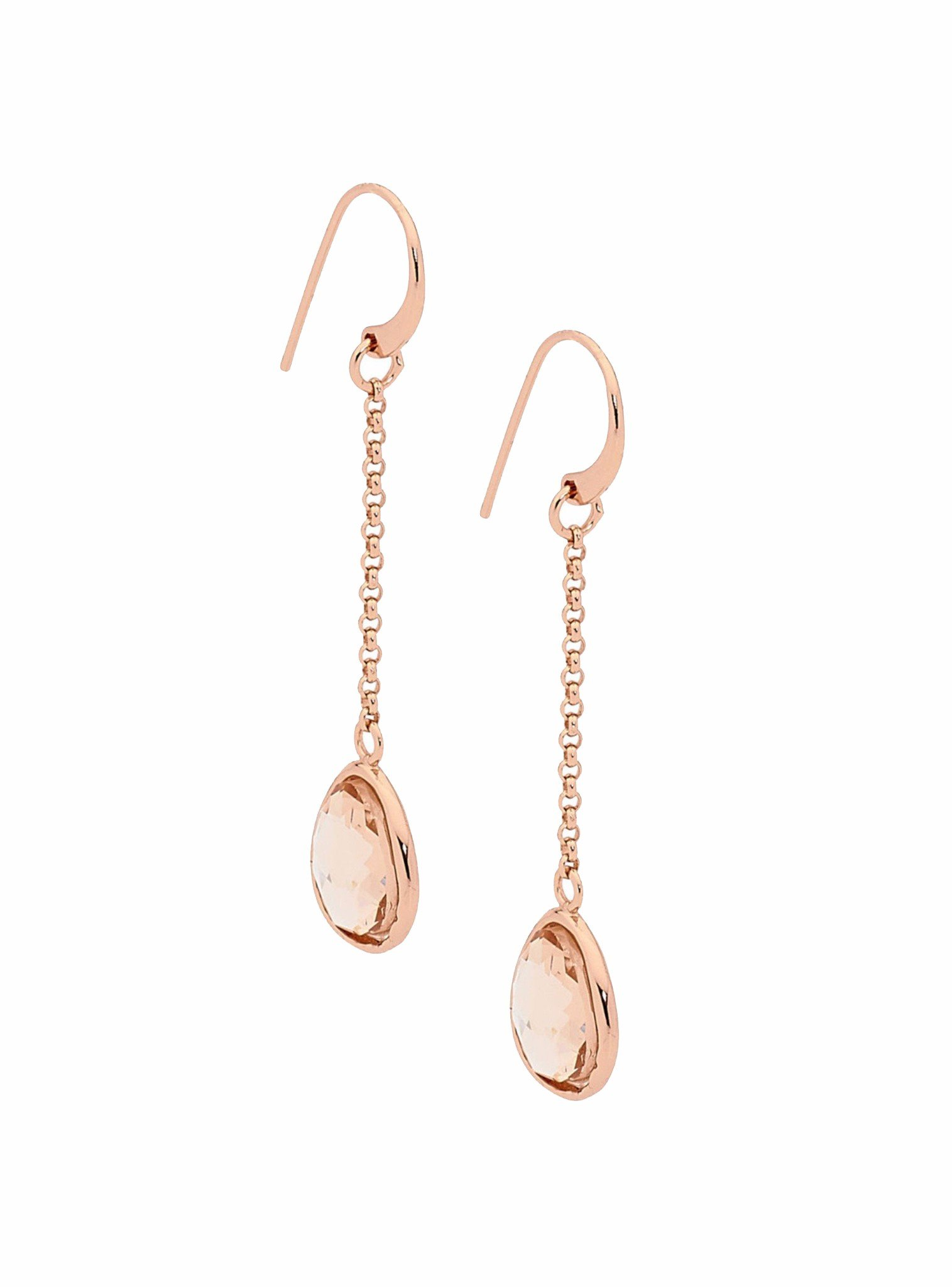 Water 14k Rose Gold Silver Earrings with Champagne Crystal