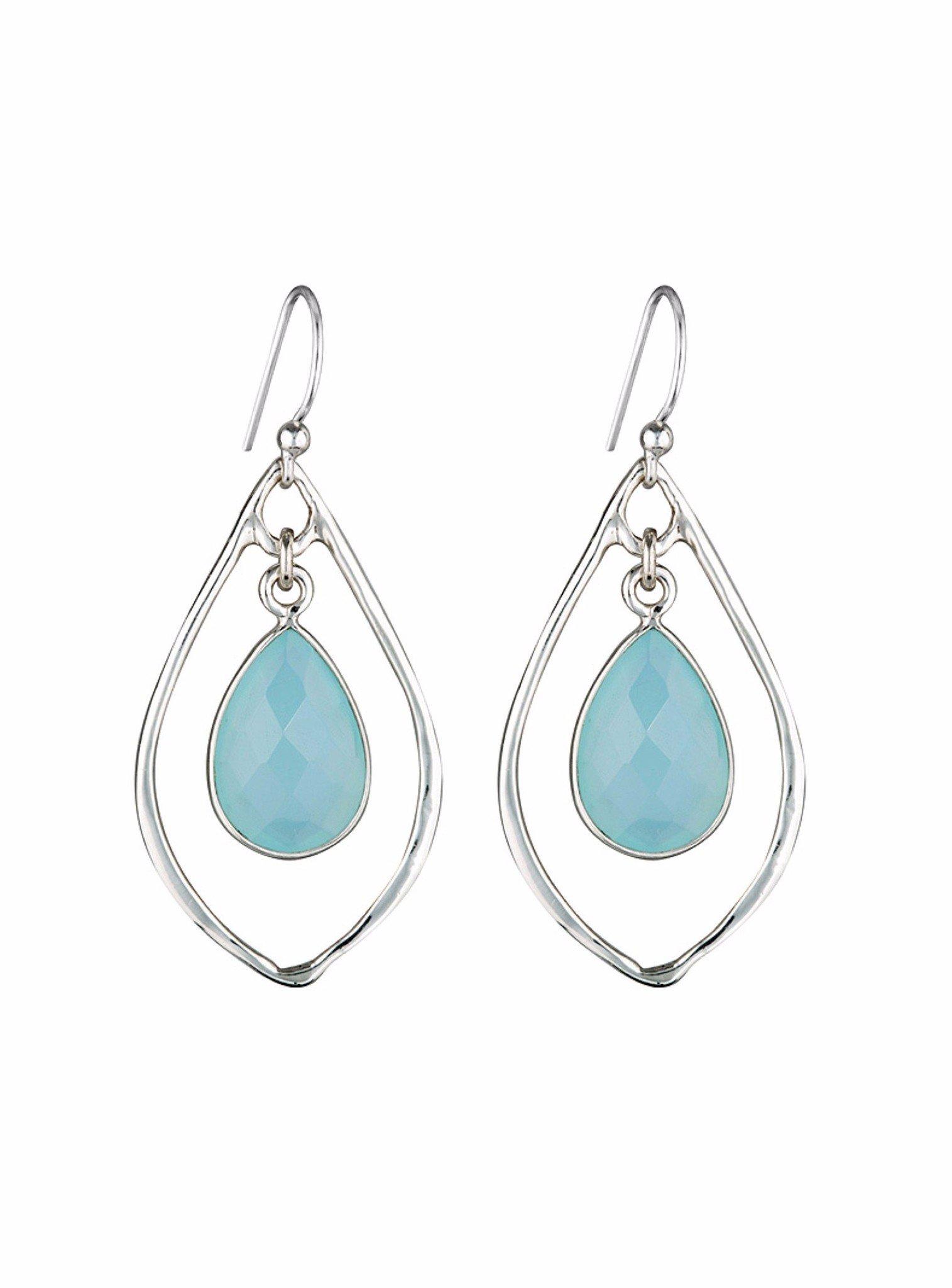 Silver Selene Teardrop Stone Earrings with Aqua Chalcedony