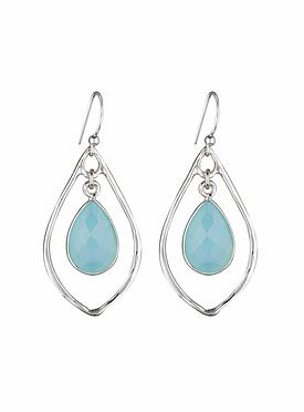 Silver Selene Teardrop Stone Earrings with Aqua Chalcedony