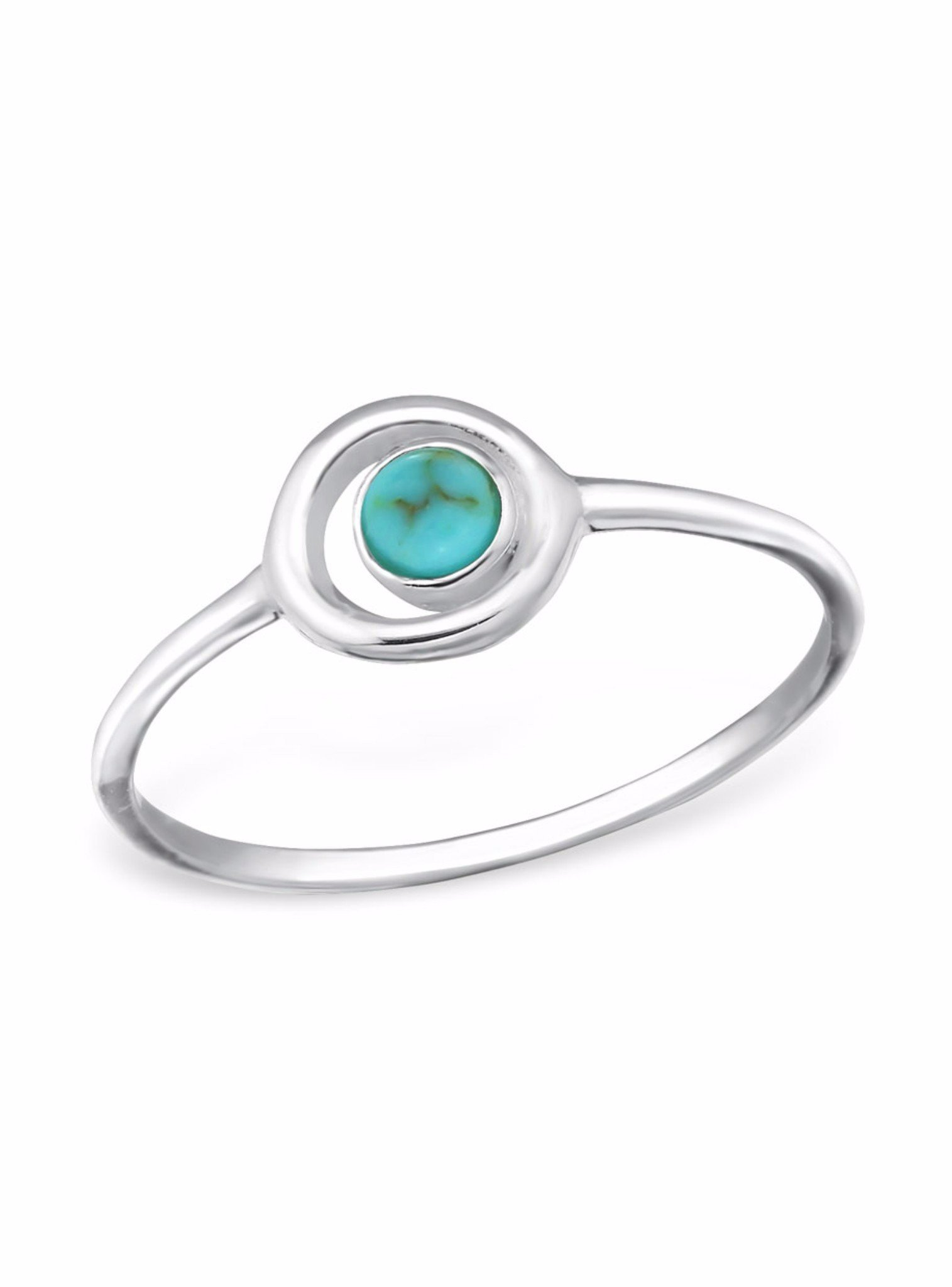 Circle Turquoise Ring in Sterling Silver