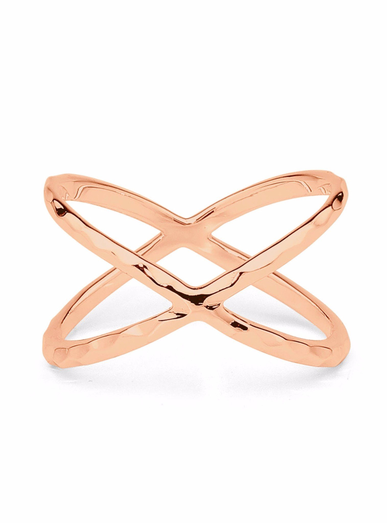 Criss Crossed X Orbital 14k Rose Gold Plated Silver Ring