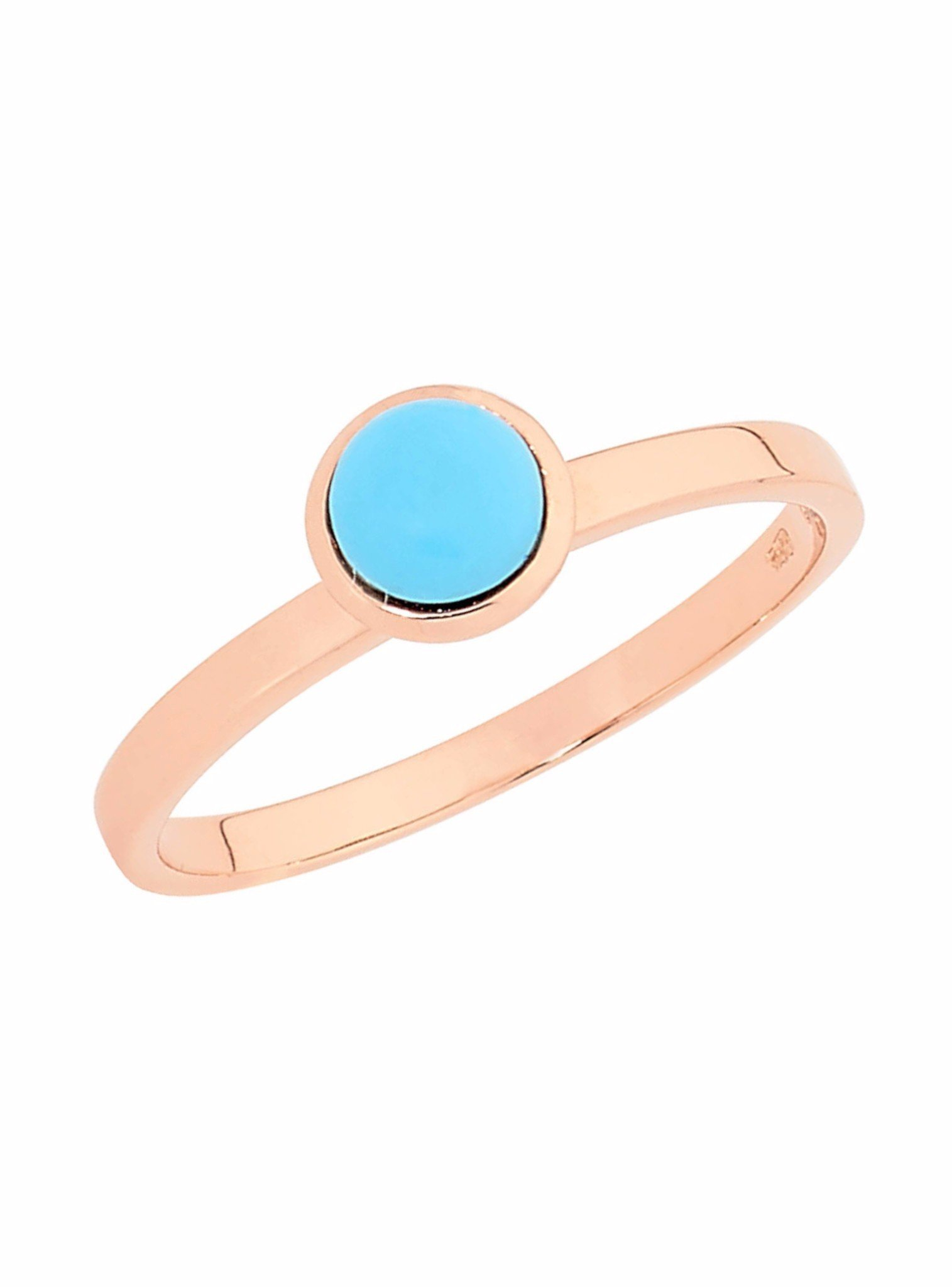 Turquoise Stacking Ring in 14k Rose Gold Plated Silver