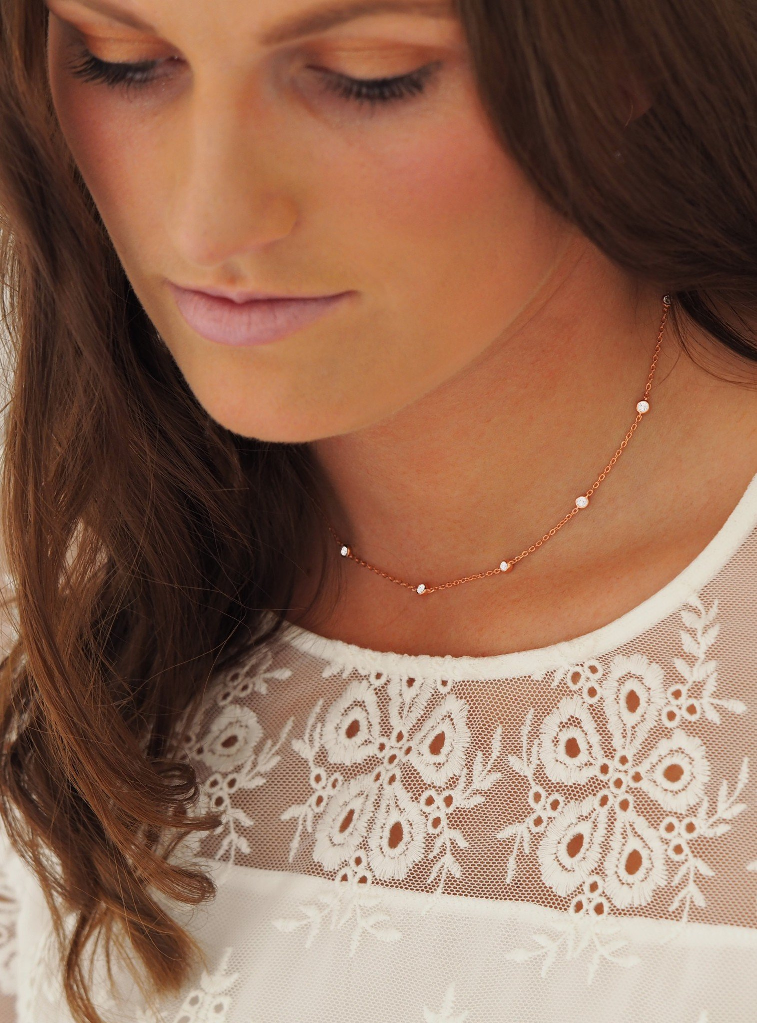 Arya CZ Scattered Necklace in Rose Gold