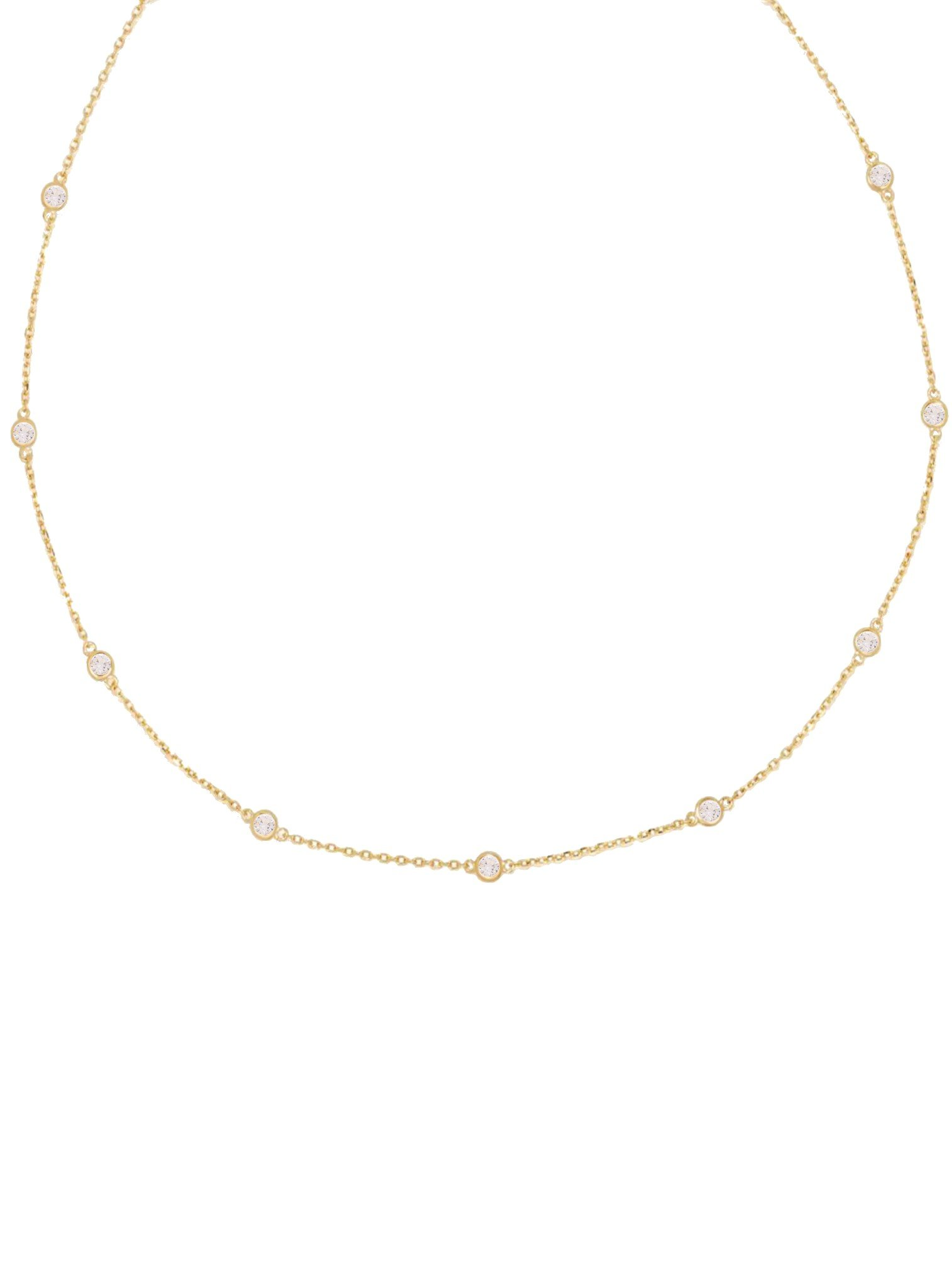 Arya CZ Scattered Necklace in Gold