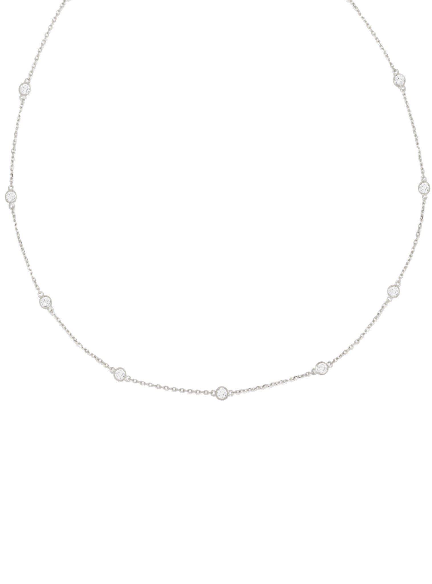 Arya CZ Scattered Necklace in Sterling Silver