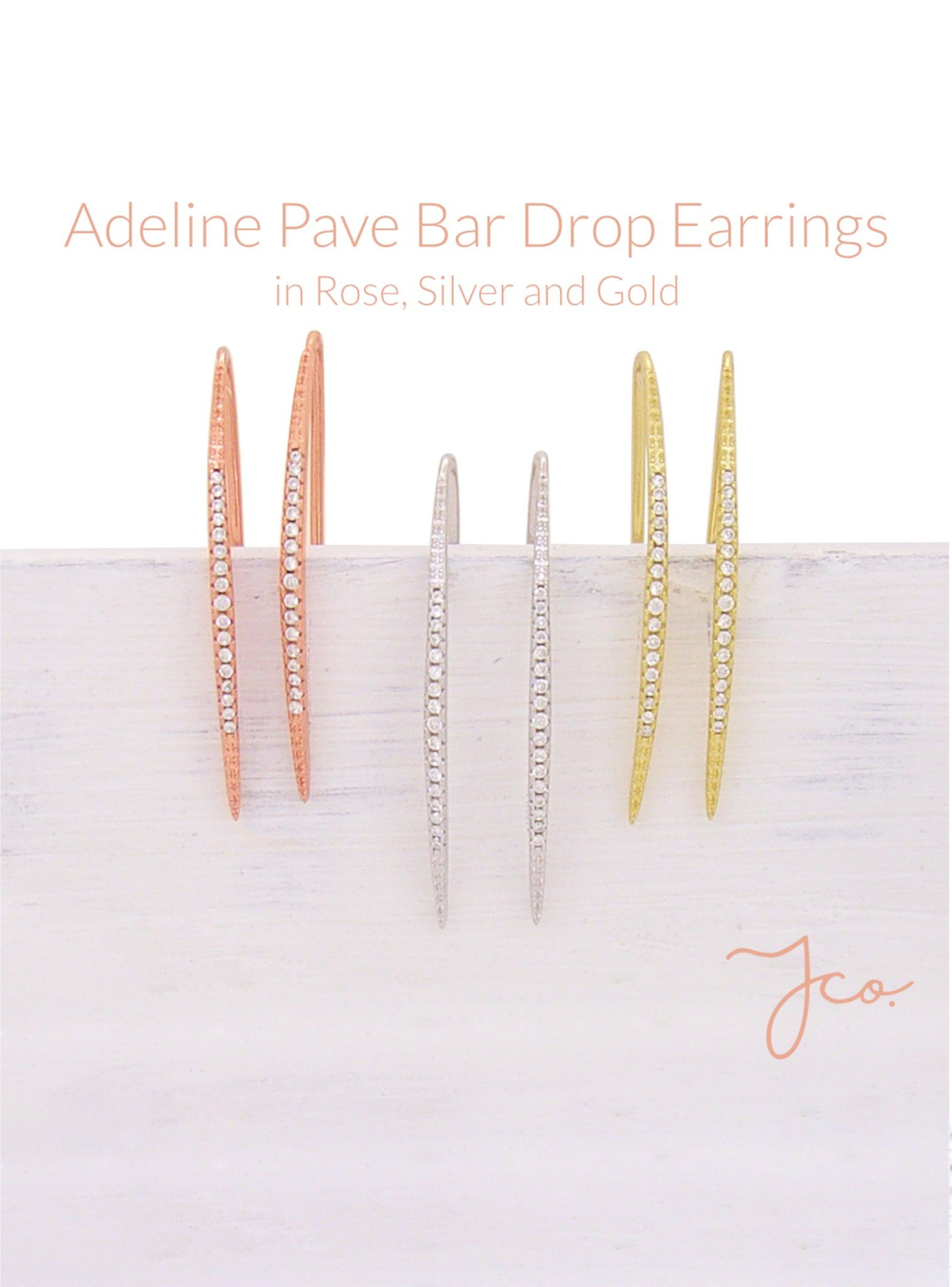 Adeline Pave Drop Bar CZ Earrings in Gold