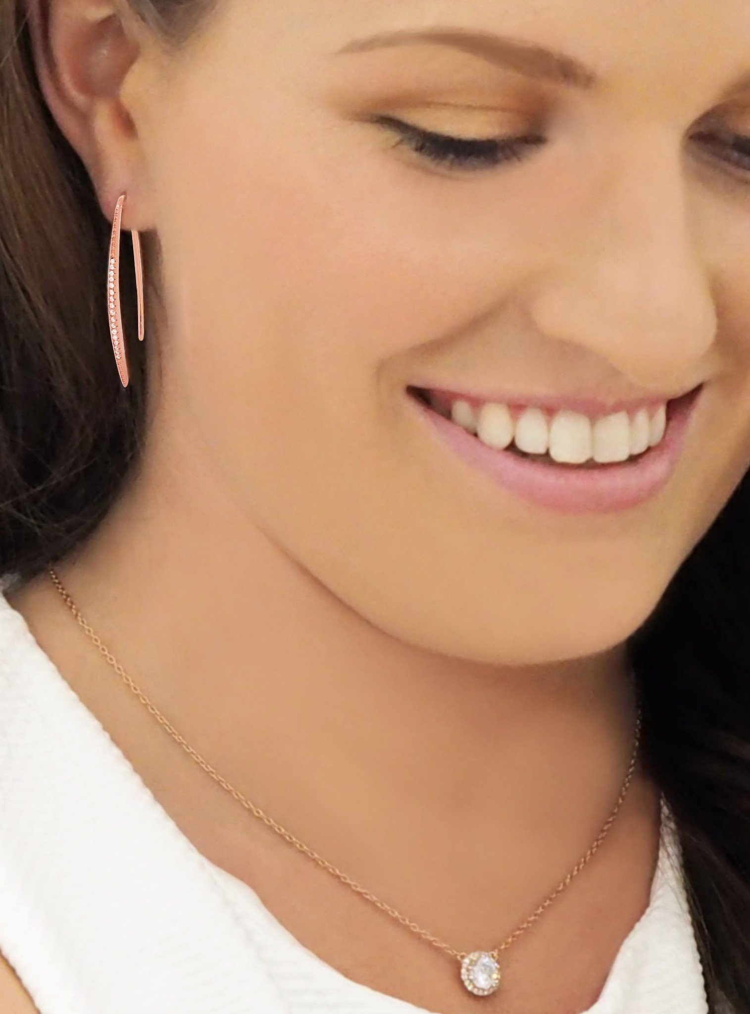 Adeline Pave Drop Bar CZ Earrings in Rose Gold