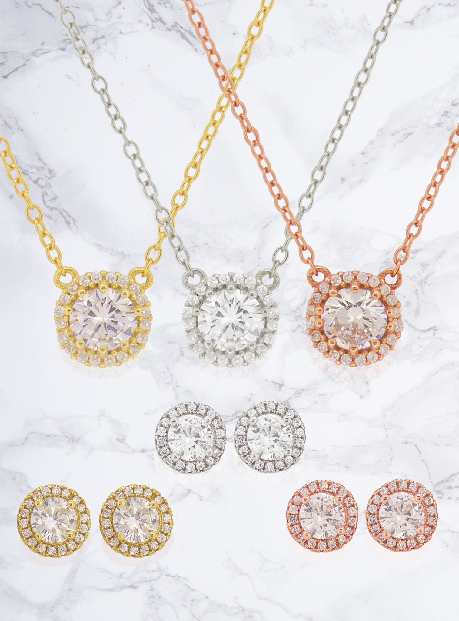 Scarlett CZ Halo Cluster Necklace in Rose Gold