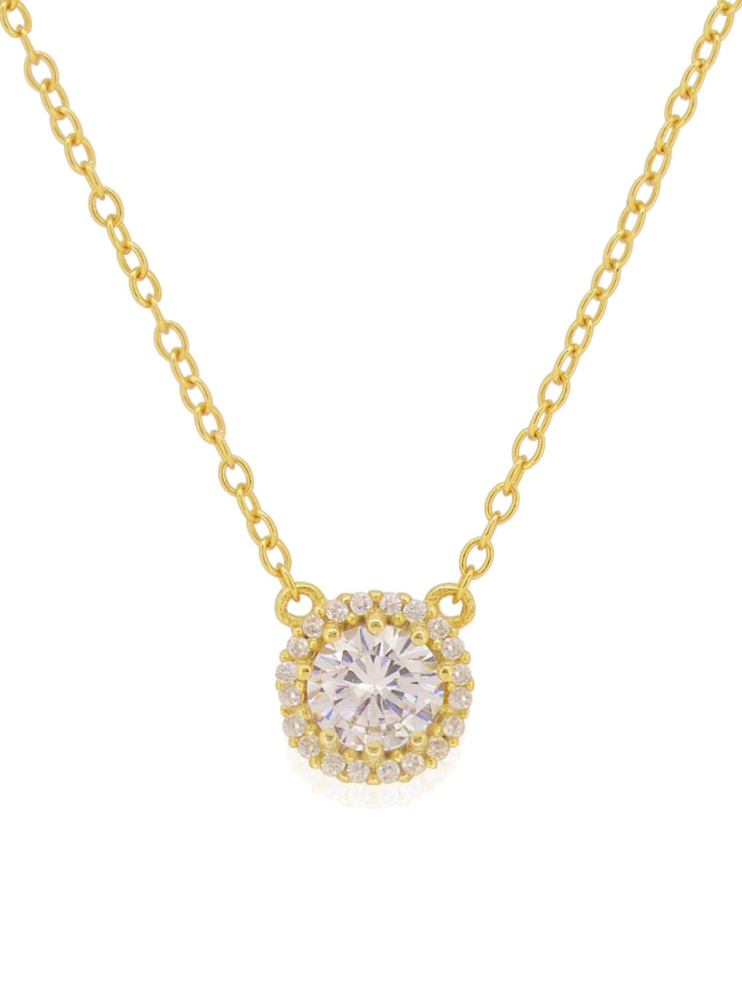 Scarlett CZ Halo Cluster Necklace in Gold
