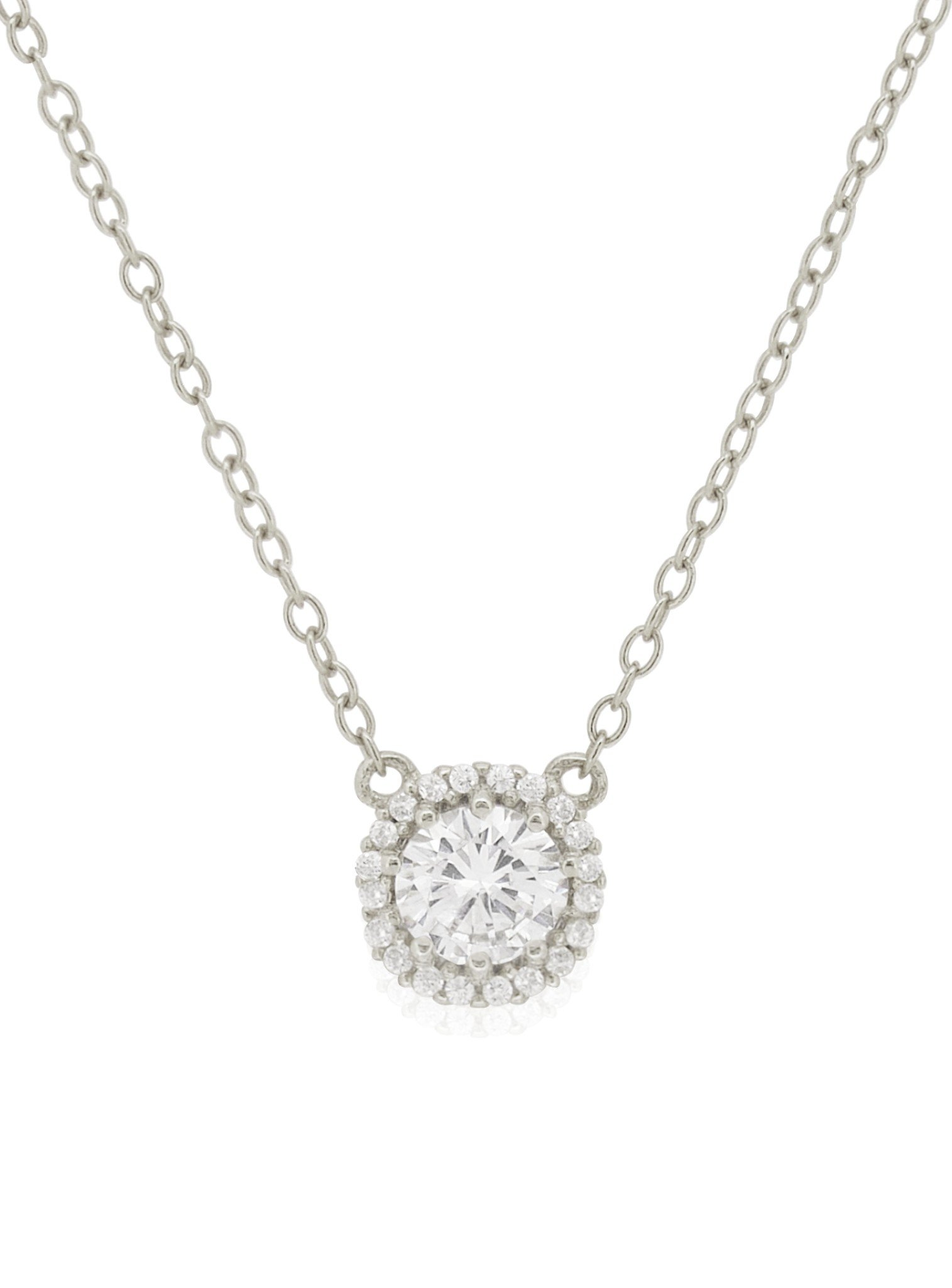 Scarlett CZ Halo Cluster Necklace in Silver