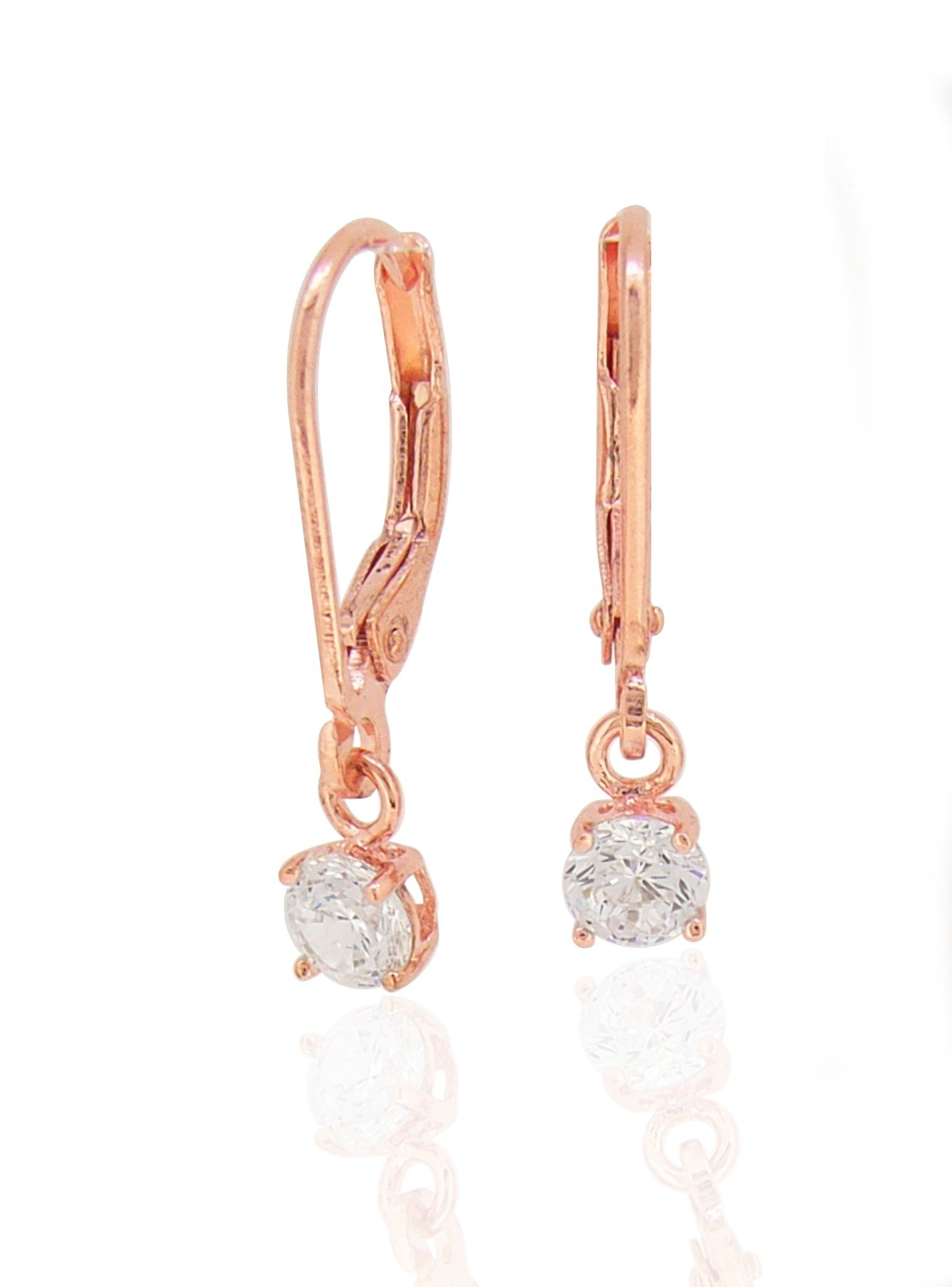 Brienne Simple Drop Hook Earrings in Rose Gold