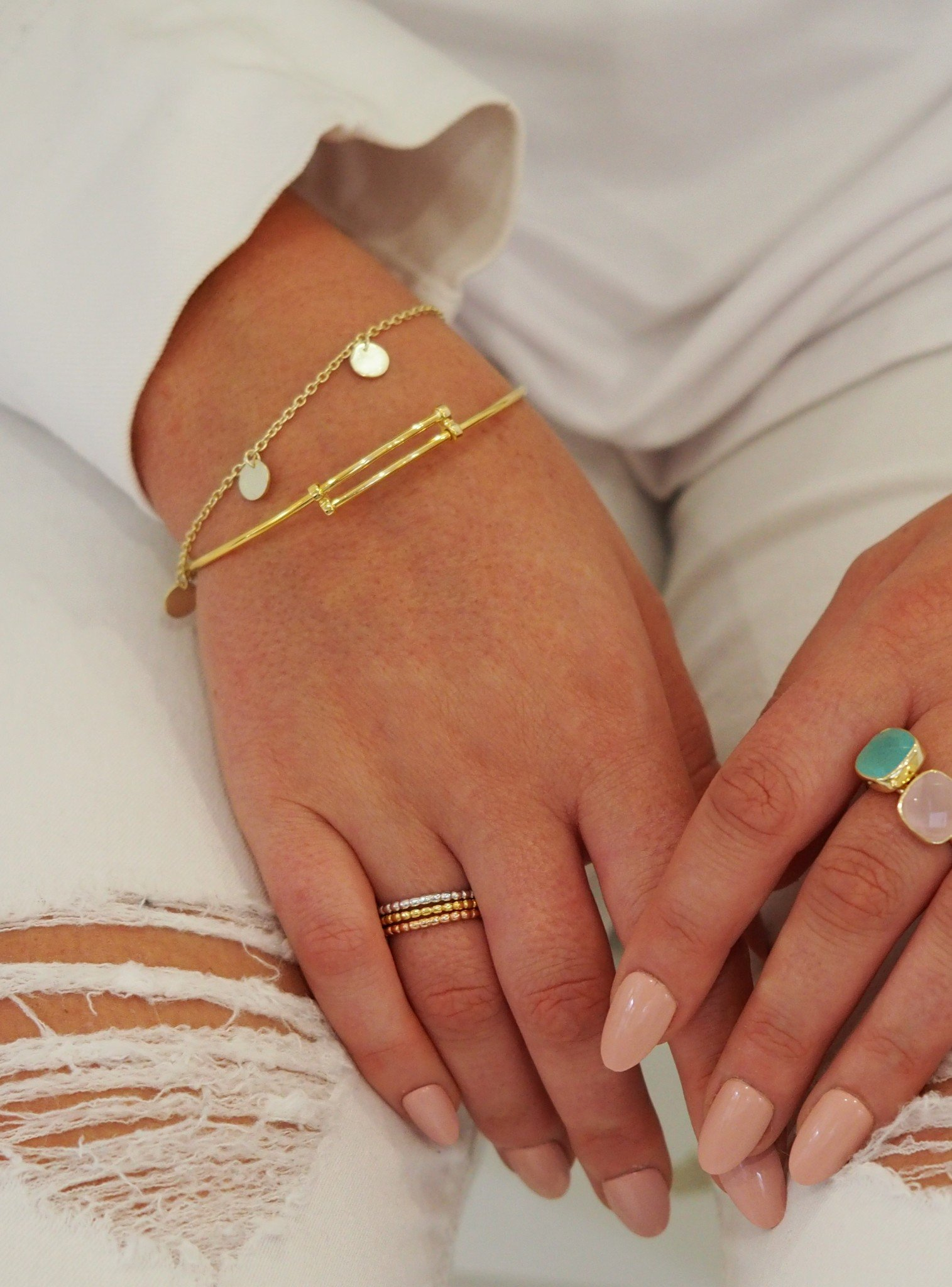 Elise Minimalist Ball Stacking Ring in Gold