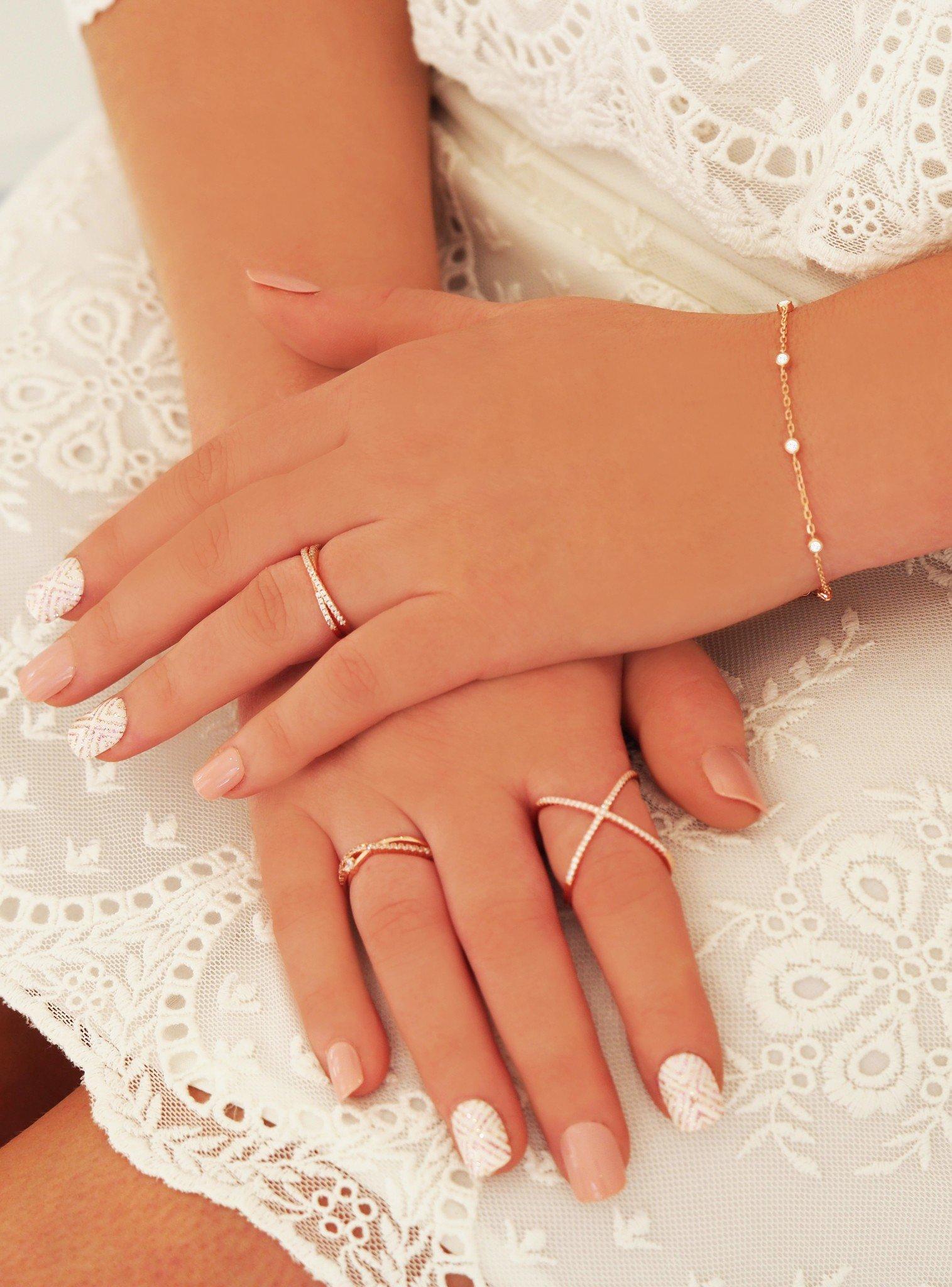 Alba Criss Cross CZ Ring in Rose Gold
