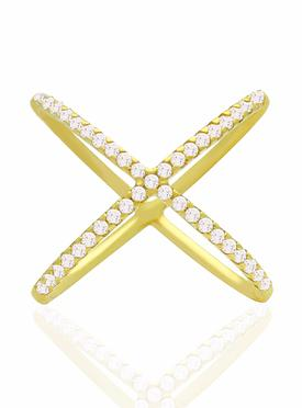 Alba Criss Cross CZ Ring in Gold