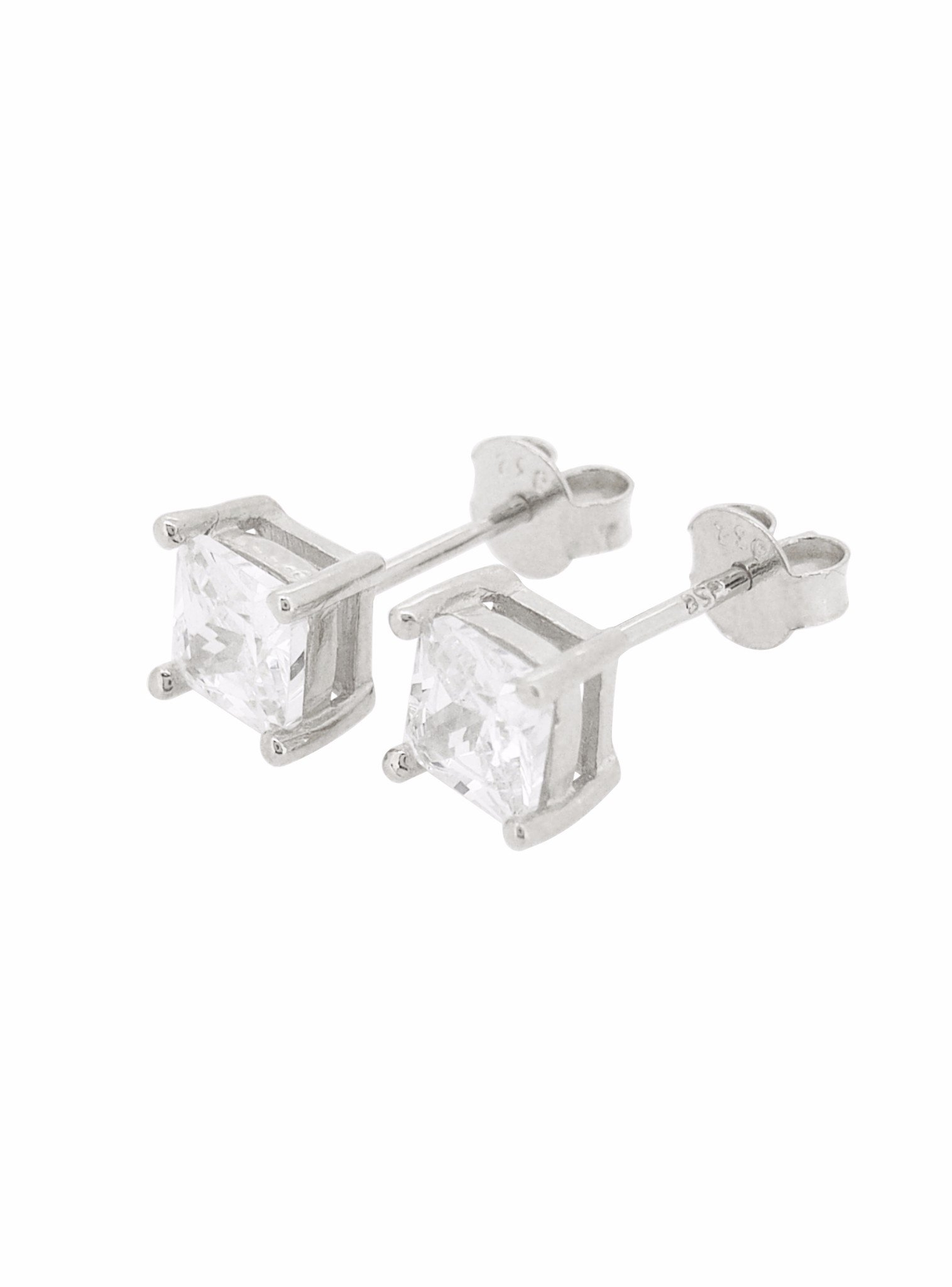 Aaliyah Princess CZ Earrings in Silver