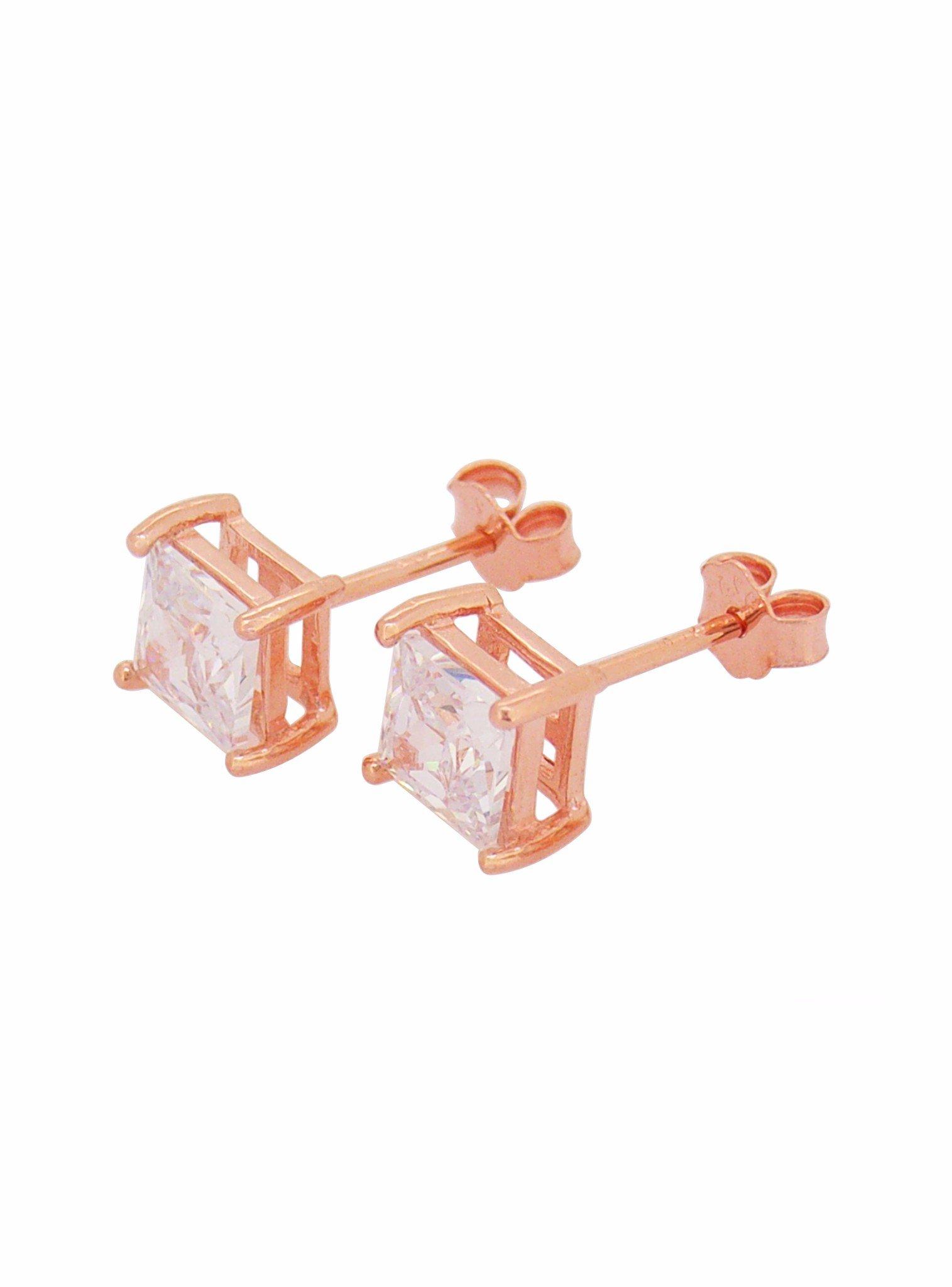 Aaliyah Princess CZ Earrings in Rose Gold