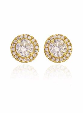 Scarlett CZ Halo Cluster Earrings in Gold