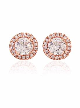 Scarlett CZ Halo Cluster Earrings in Rose Gold