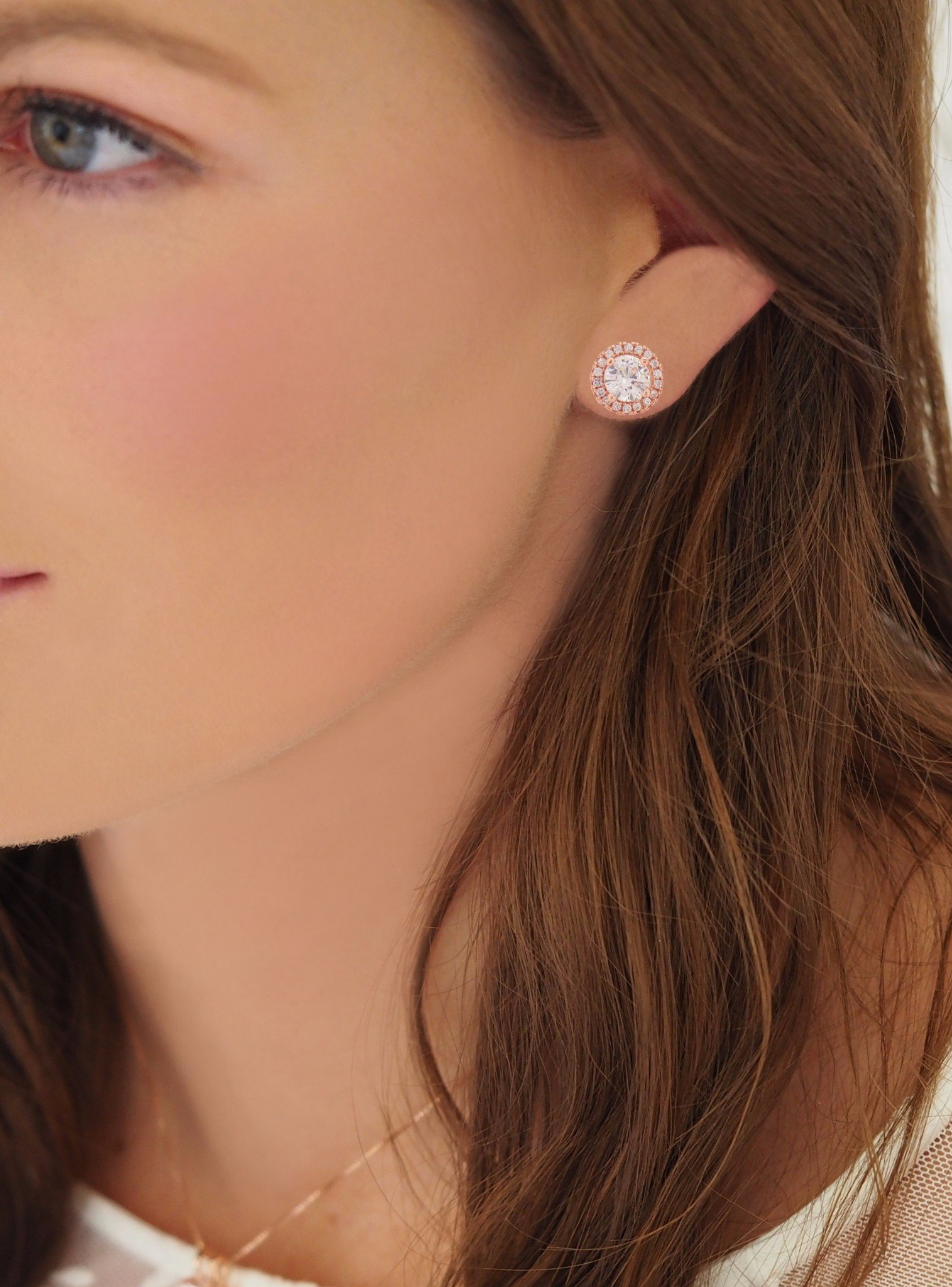 Scarlett CZ Halo Cluster Earrings in Rose Gold