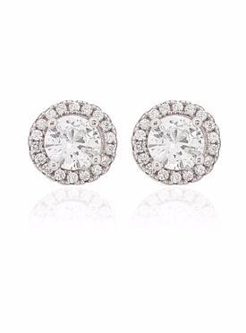 Scarlett CZ Halo Cluster Earrings in Silver