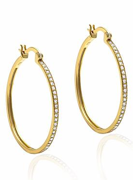Aurora Pave Hoop CZ Earrings in Gold