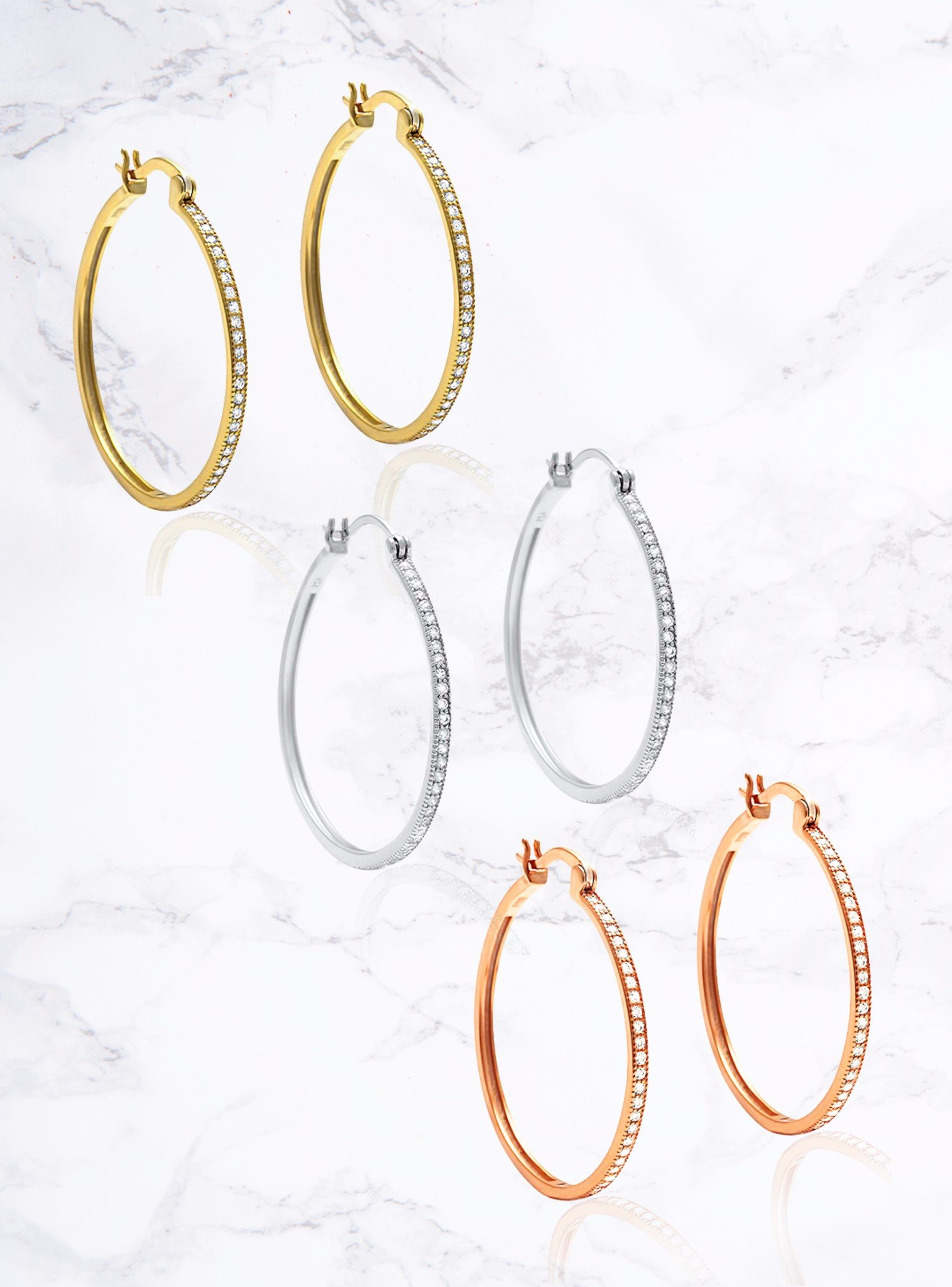 Aurora Pave Hoop CZ Earrings in Rose Gold