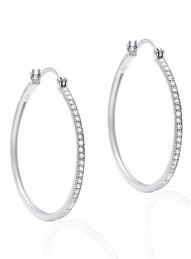 Aurora Pave Hoop CZ Earrings in Silver