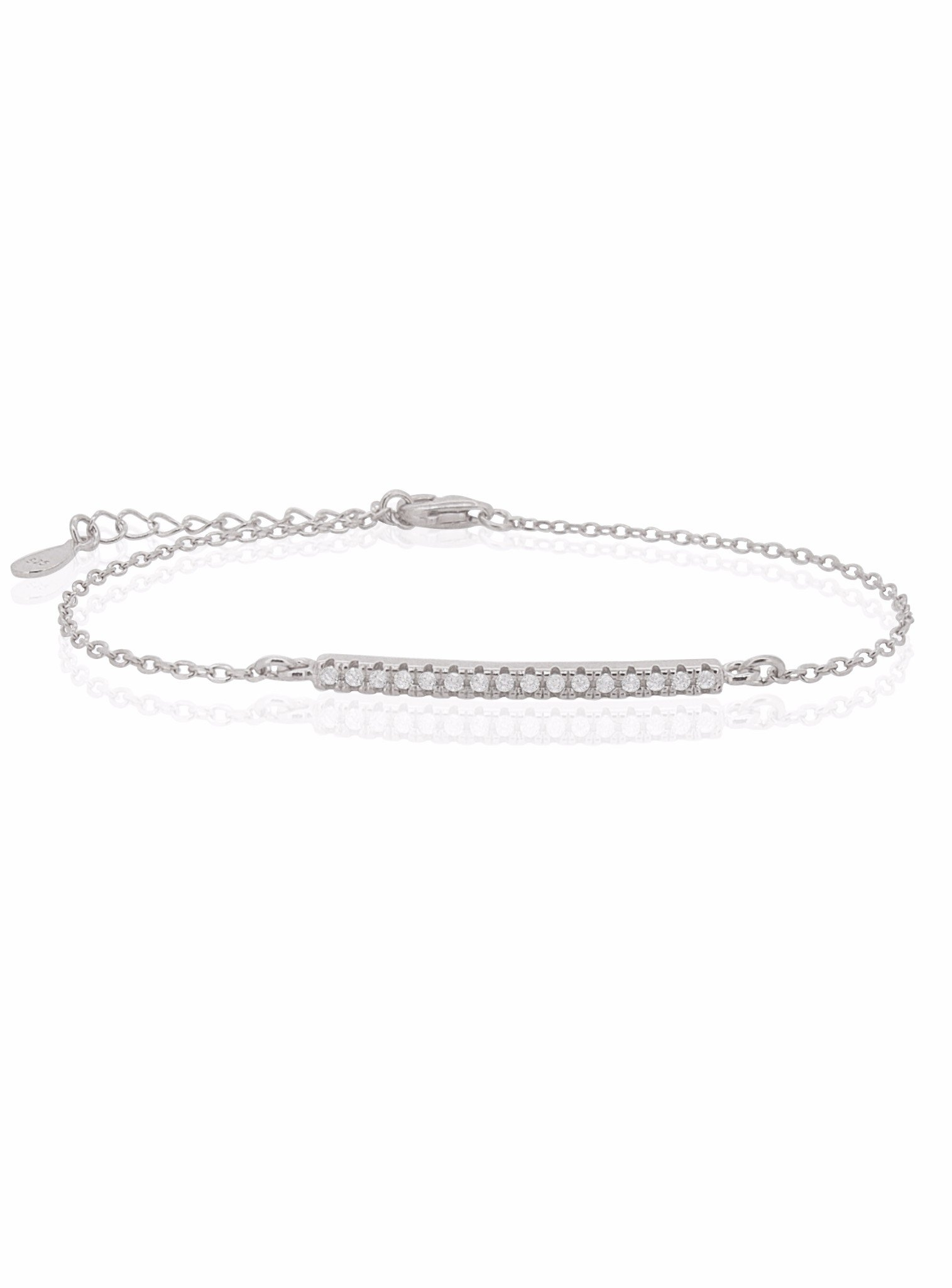 Emilia CZ Pave Set Bar Bracelet in Sterling Silver