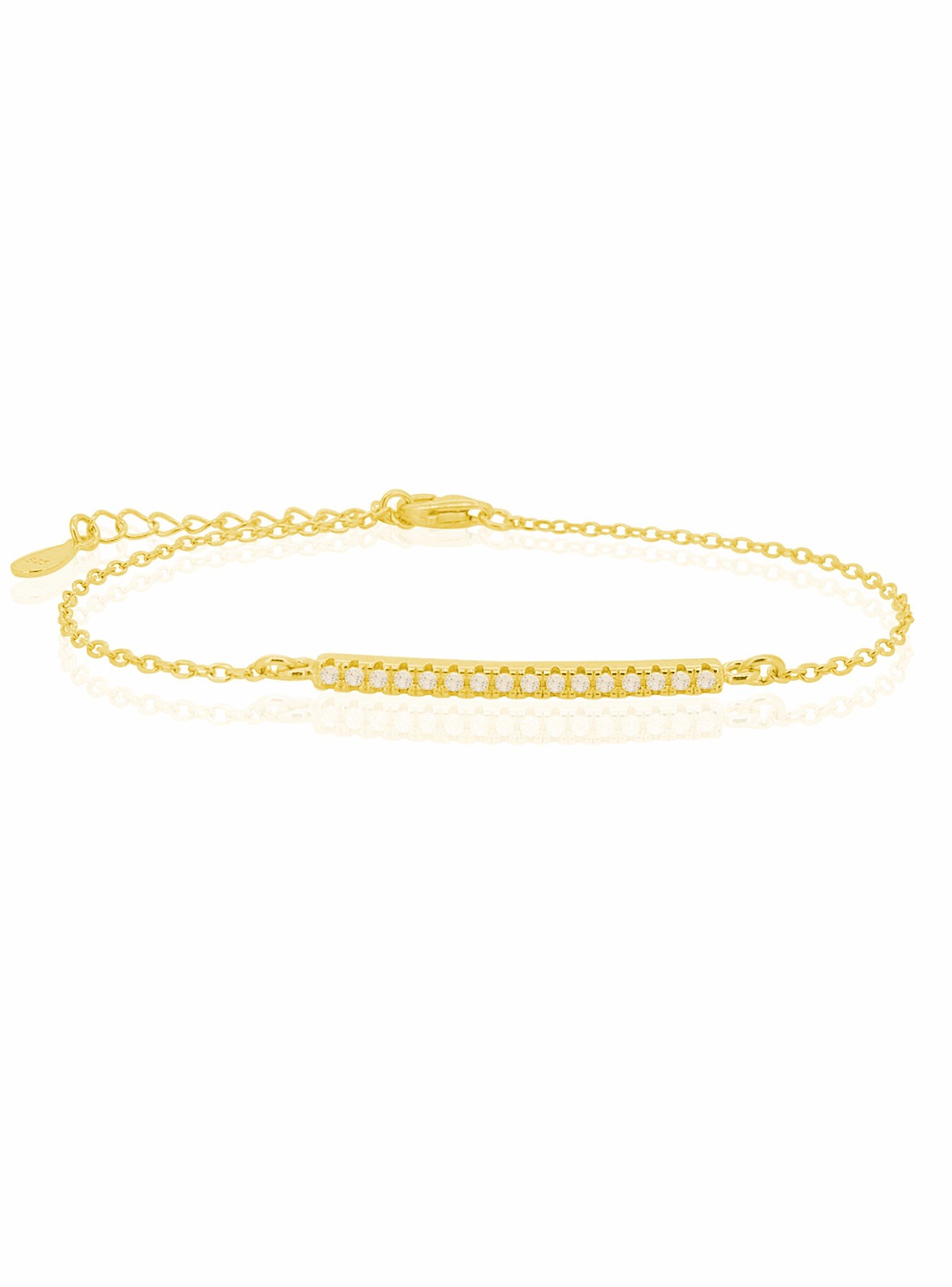 Emilia CZ Pave Set Bar Bracelet in Gold