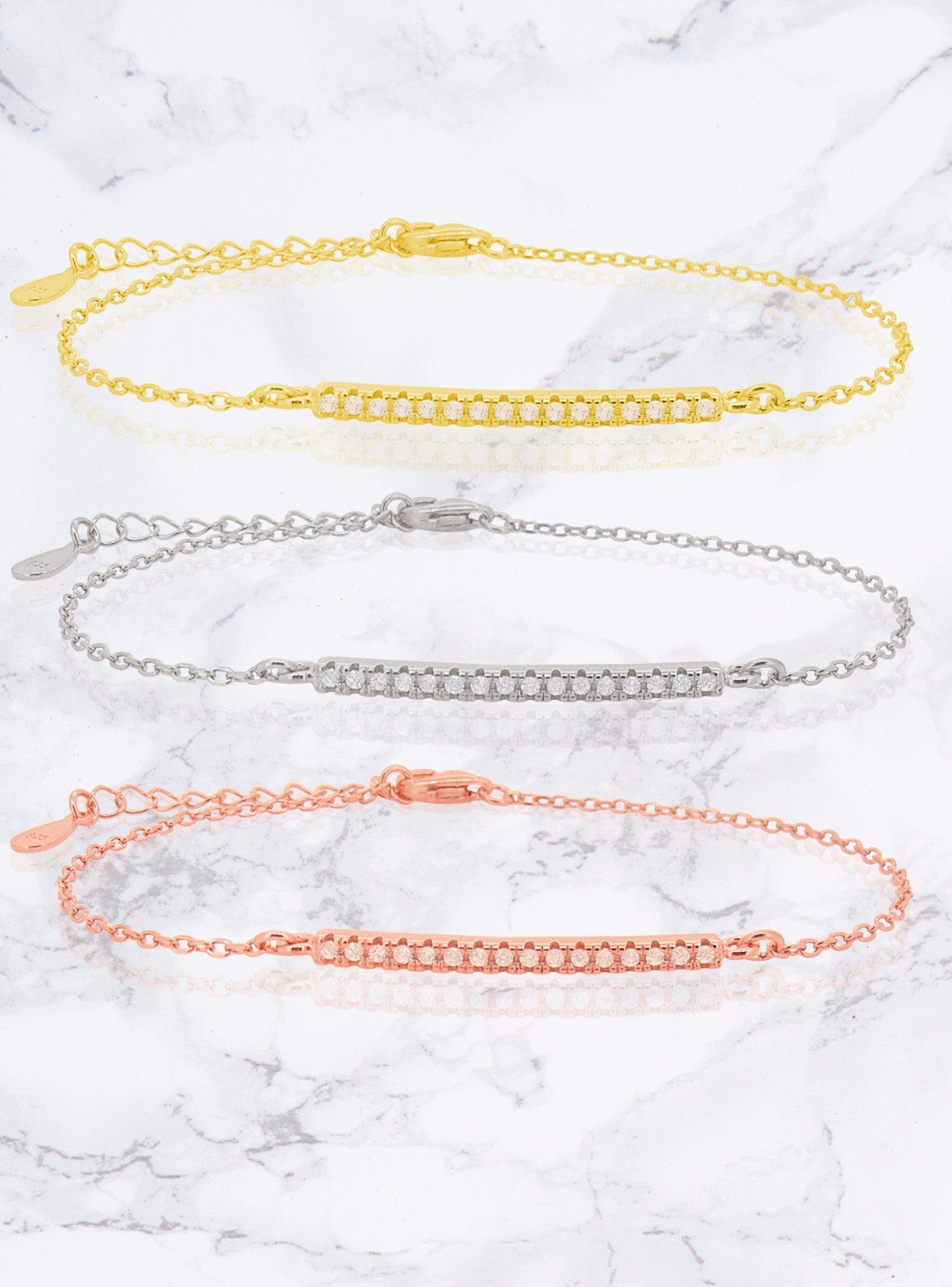 Emilia CZ Pave Set Bar Bracelet in Gold