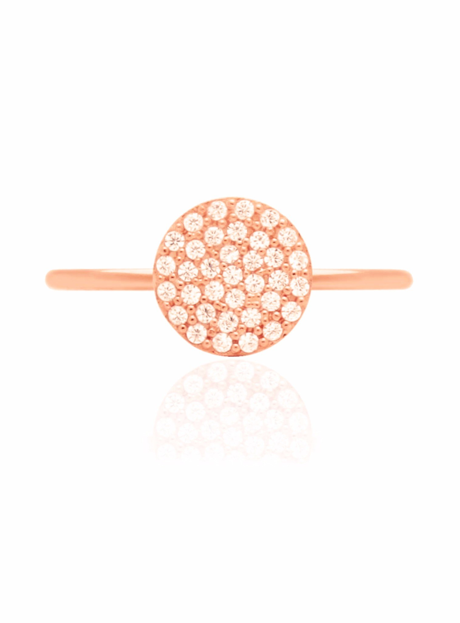 Adele Circle Disc Pave Set CZ Ring in Rose Gold