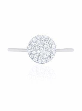 Adele Circle Disc Pave Set CZ Ring in Silver